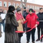 Церемония открытия с перерезанием красной ленточки газовой котельной