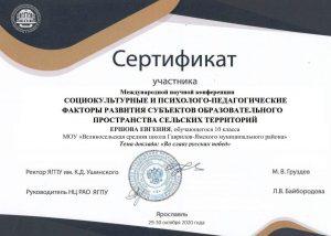 Сертификат Ершов Евгений
